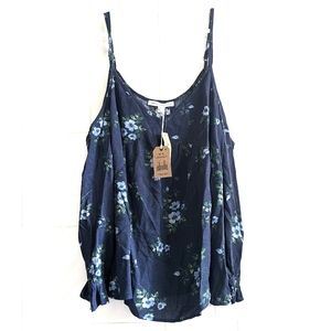 NWT American Eagle Navy Blue Floral Off the Shoulder Top